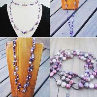 Long Purple hand knitted pearl necklace, Free postage