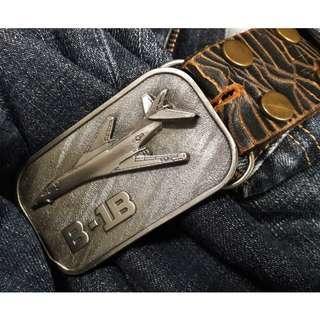 美製 金属 B1  B  轟炸机 皮帶扣連爆裂花纹皮带