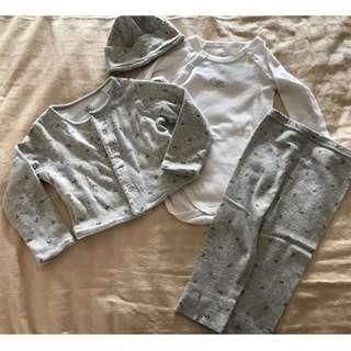 Petit Bateau 4 piece long sleeve romper pants jacket hat set