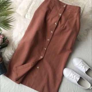 Burnt orange midi button skirt