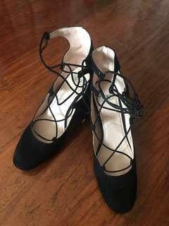 Zara lace block heels