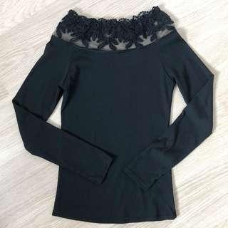全新 蕾絲 一字膊 長袖衫 Laced off shoulder top in black