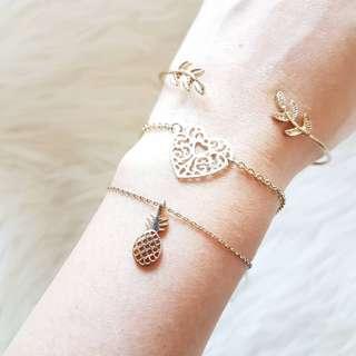 BUNDLE Dainty Jewellery 3 Pieces Necklace Cuff Bangle Bracelet