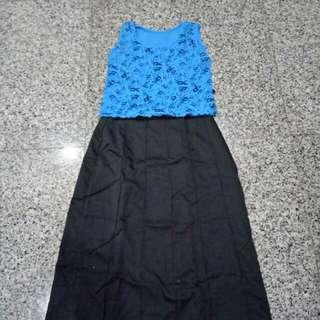 Sweet Glittering Nice Bluish Top With Black Skirt
