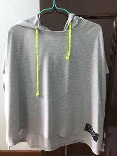 Grey oversized flowy top witb hoodie and neon green straps COTTONON