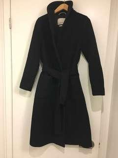 WILFRED CASHMERE AND WOOL COAT, BLACK- Size SMALL #LISTARITZIA