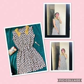 Mustard polka dress