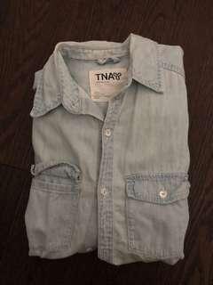 TNA ARITZIA light denim long sleeve shirt
