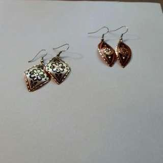 Hand Painted Copper Earrings From Turkey