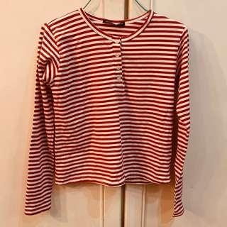 Bnwt brandy Melville red and white Henley Long sleeve button up Striped TOP authentic bm