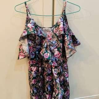 Bnwt roe + May green and purple ruffled Floral Dress authentic