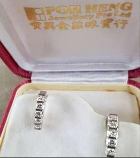 Excellent Christmas Gift. Brand New 14K White Gold 10pcs Diamond (0.82ct) Earrings.