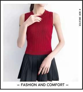 Maroon Ribbed Top With Sleeve