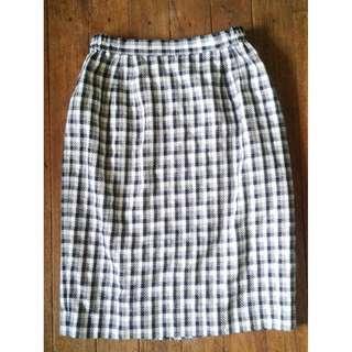 korean long plaid skirt