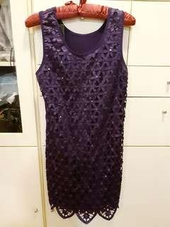 **Beaded Laser-cut Party Dress w Scalloped Hem in Purple
