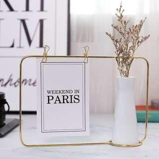 RENTAL: D36 GOLD FRAME + WHITE VASE