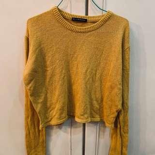 BN brandy Melville yellow knit Mustard Crop Sweater Pullover authentic bm