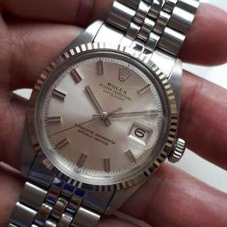 "Rolex Datejust White Gold 1601  ""Wide Boy"" or ""Fat Boy"" No Lume dial"