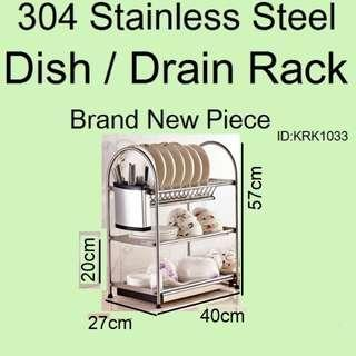 Dish Rack / Drain Rack - 304 Stainless Steel - Brand New Piece