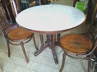 3 Feet Solid Teak Kopitiam Table & 2 chairs