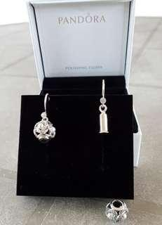 Brand New Pandora Charm and Earrings, With Polishing Cloth. A Lovely Combination That Provide The Wearer To Use Them As a Charm and A Pair of Earrings Or Simply a Stunning Pair of Earrings.