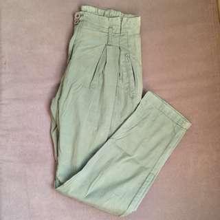 Faded green pants