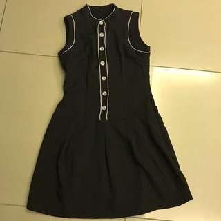 Black high-neck Flared-hem dress