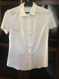Mango White Short Sleeve Cotton Shirt
