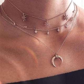 [PO] Boho Multi Layered Moon Necklace