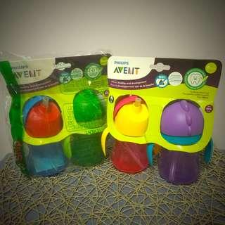 BN Brand New Philips Avent My Bendy Straw Cup Water Bottle 7oz 200ml  2pk - Blue Green Red Pink Yellow Purple