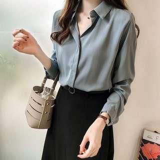 Solid Coloured V-Neck Collared Longsleeves Chiffon Top
