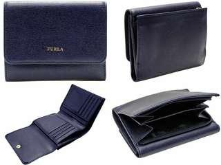New Furla Navy Blue Trifold Wallet