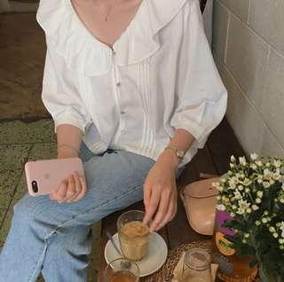 korean white blouse top