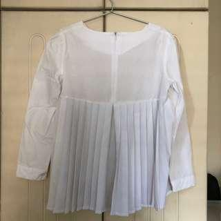 COS-inspired White Blouse with Pleat Detail