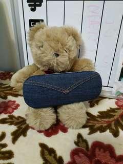 🚚 絨毛小熊+牛仔眼鏡盒