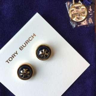 Tory Burch Melodie Stud Earrings in Navy (INSTOCK)