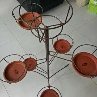 7 Pcs - Garden Pots Holder With Glittering Iron Roughts Stand