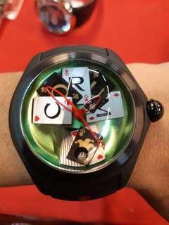 🚚 CORUM 崑崙 47mm不鏽鋼PVD錶殼 泡泡錶 撲克POKER 全球限量88只 未使用新品盒單齊全