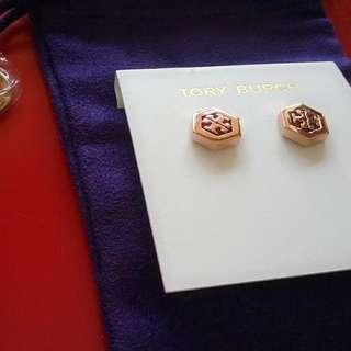 Tory Burch Rose Gold Hexagon Logo Stud Earrings (INSTOCK)