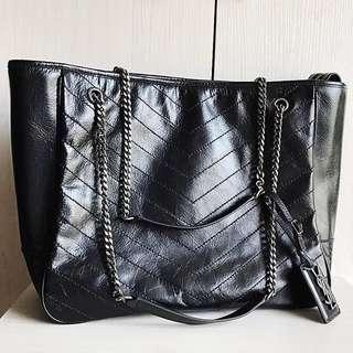 Saint Laurent YSL Chevron Large Quilted Double Chain Tote