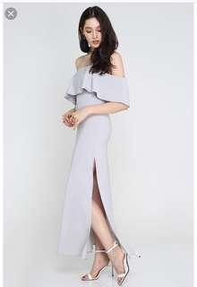SUPERGURL LA BELLA VITA MAXI DRESS IN DUSTY GREY XS