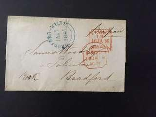 Stamp less cover Bradford Wilts dd 1841