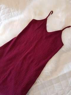 Dark Cherry bodycon Dress (Knee-length)