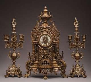 Antique German Mantel Clock set in Brass Chime with Candelabra c1880 罕有 十九世紀 德國 黃銅 古董鐘 連 蠟燭台 擺動 Mantle