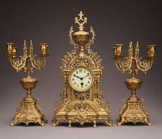 Antique French Gilted Bronze Palace Mantel  Clock set Chime with Candelabra c1870 罕有 十九世紀 法國 皇宮 鍍金 青銅 八日鏈 古董鐘 連 蠟燭台 擺動 Mantle