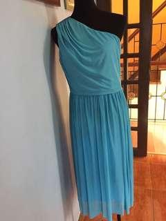 Blue one shoulder gown