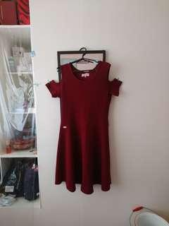 Maroon Party Dress - large / event dress