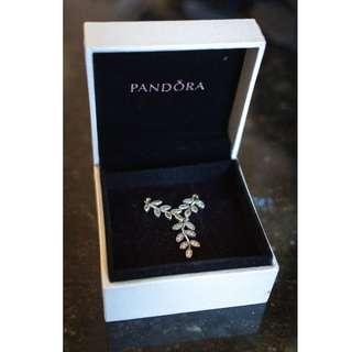 Pandora Shimmering Sparkling Leaves Pendant Silver Necklace