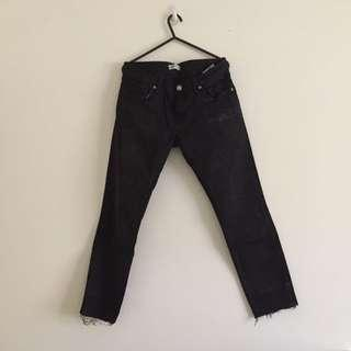 Zara Woman: Black slightly acid washed straight cut pants with frayed ends