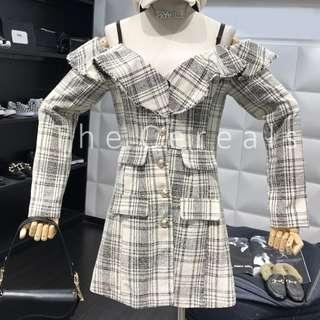 TC3173 Korea CHeckers Buttons Strap Heavy Thich Material Dress